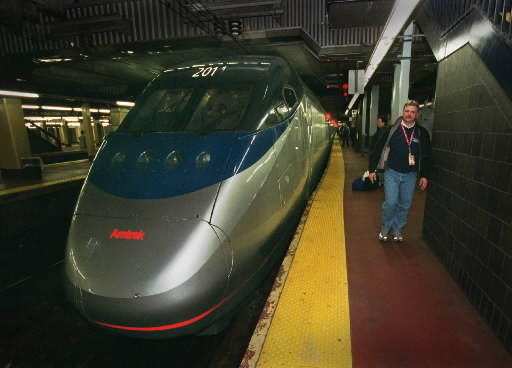 Amtrak hopes to put a new high-speed rail route from Washington D.C. to Boston, through Connecticut. This high-speed Acela train was photographed at Penn Station in New York.