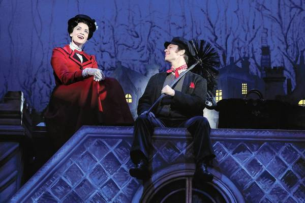 "Rachel Wallace and Nicolas Dromard in ""Mary Poppins"" at the Ahmanson Theatre."