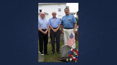 Descendants of Revolutionary War ancestor Christian Boger Sr. from left are: William Boger, fifth great-grandson, Homer Boger, fourth great-grandson and William Lehman, fifth great-grandson.
