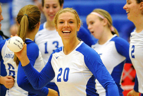 Megan Boken (20) in a photo taken at St. Louis University during her senior year in 2010. Boken was shot and killed in St. Louis on Saturday. She was a former volleyball standout at Wheaton St. Francis High School.