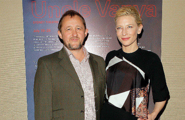 "Andrew Upton and Cate Blanchett at a July photocall for the Sydney Theatre Company's production of Chekhov's ""Uncle Vanya"" in New York."
