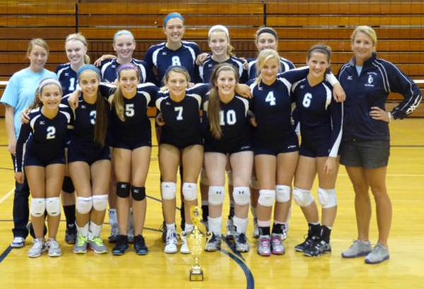 Members of the Petoskey High School volleyball team gather Saturday after winning their fourth consecutive season-opening Sault Ste. Marie Invitational. Team members are front (from left), Tori Visconti, Becca Rash, Liz Fraser, Annie Hansen, Breanna Merriam, Katie Gilpatrick, Natalie Weaver, Heather Miller; back, assistant coach Jill McNitt, Shannon Cosens, Kelsey Ance, Megan Tompkins, Alyssa VanWerden, Jayme Larson, coach Heather Miller.