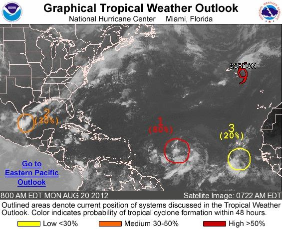 The tropics were busy on Monday morning.