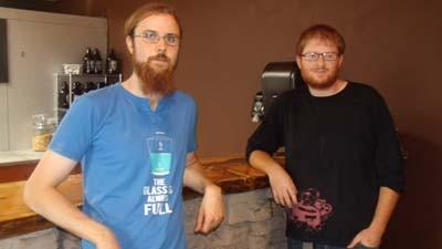 Peter Manthei (left) and Ben Slocum stand by the bar at Beards Brewery, the new downtown Petoskey microbrewery in which theyre managing partners.