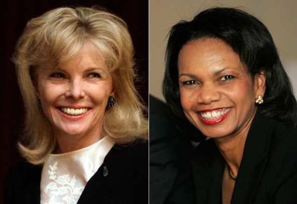 Darla Moore, left, in a March 24, 2011 file photo; and former U.S. Secretary of State Condoleezza Rice in January 2008.