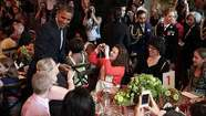 "WASHINGTON—President Barack Obama ""crashed"" a state dinner of sorts today, making a surprise appearance in the East Room at a children's luncheon hosted by the first lady."