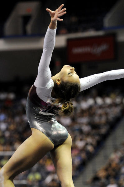 Mattie Larson performed her floor exercise at the women's senior gymnastics competitors during the 2010 VISA Championships being held at the XL Center.