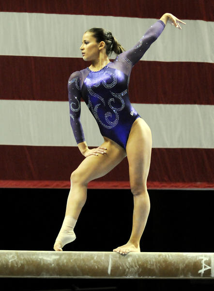 Local favorite Alicia Sacramone performs on  the ballance beam during the women's senior gymnastics competiton during the 2010 VISA Gymnastics Championships being held at the XL Center.