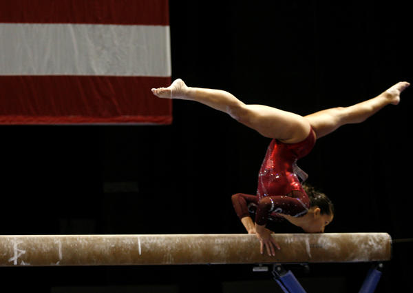 Alicia Sacramone competes on the Bar during the Women's finals competition of the Visa Gymnastics Championships at the XL Arena in Hartford, Conn. on August 14, 2010.