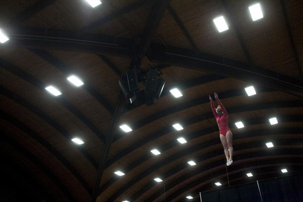 Tristan VanNatta warms up for the Junior Tramp competition during the 2010 Visa Gymnastics Championship Preliminary Rounds at the University of Hartford on August 10, 2010.