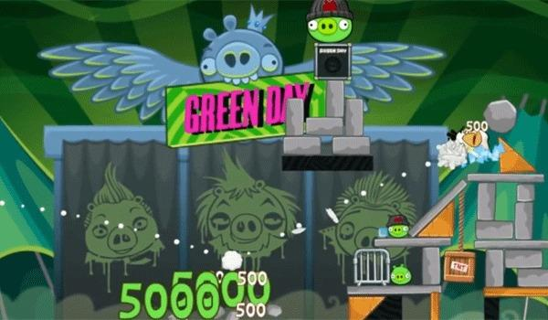 "A screen shot of Green Day's ""Angry Birds Friends"" edition."