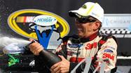 Greg Biffle won the NASCAR Sprint Cup race at Michigan International Speedway on Sunday when leader Jimmie Johnson's car left the track with engine trouble with only six laps remaining.