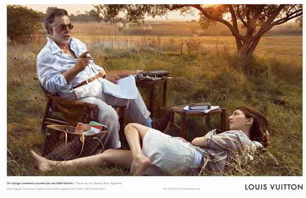Father-and-daughter filmmakers Francis Ford Coppola and Sofia Coppola were photographed for Louis Vuitton.