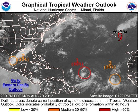 Forecasters are watching three developing tropical systems, one of which could become Tropical Storm Isaac.