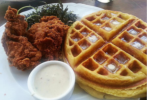 Fried chicken and waffles from the Tasting Kitchen in Venice Beach.