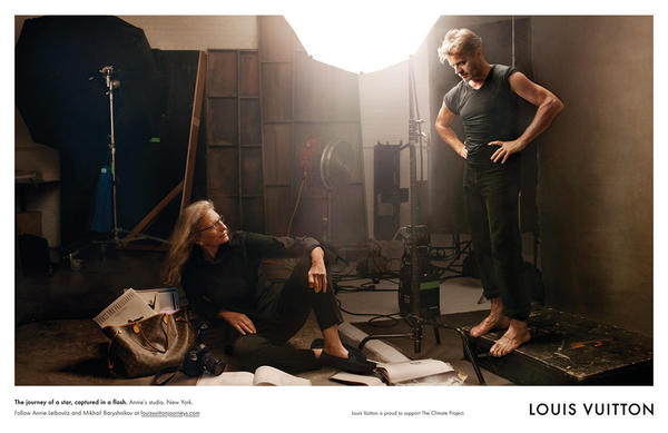 Photographer Annie Leibovitz and famed dancer Mikhail Baryshnikov were photographed for Louis Vuitton.