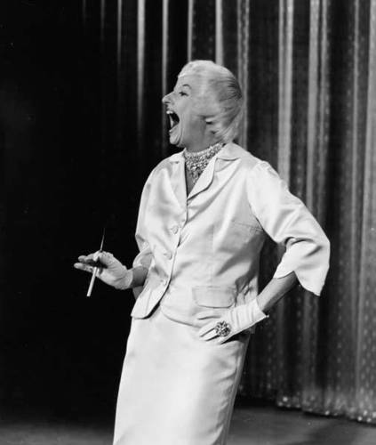 Phyllis Diller performs on an episode of 'The Ed Sullivan Show,' New York, New York, November 27, 1960.
