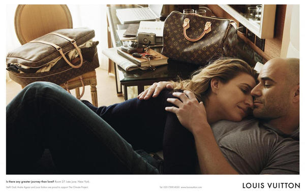 Tennis greats Steffi Graf and Andre Agassi were photographed for Louis Vuitton.