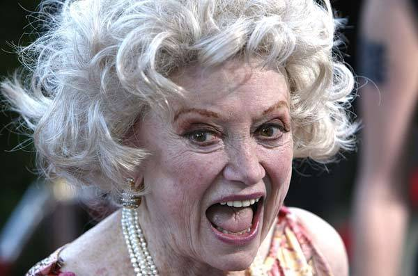 Phyllis Diller attends the premiere of the MGM film 'De-Lovely' at the Academy of Motion Pictures Arts and Sciences June 11, 2004 in Beverly Hills, Calif.
