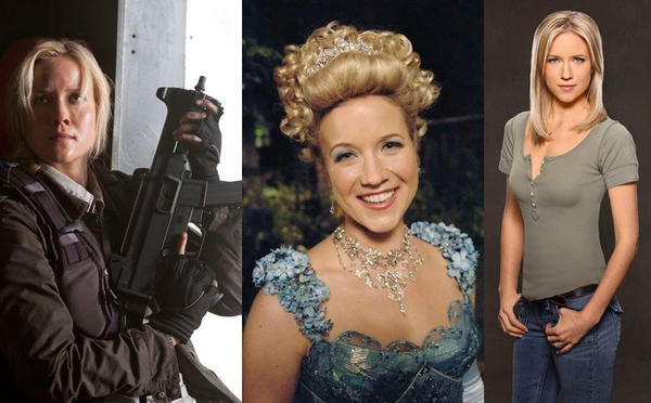 "Jessy Schram plays four characters on three different shows. (Well, she kind of plays 5 characters.) In ABC's ""Once Upon a Time,"" she's Cinderella (center) in the fairy tale world and Ashley Boyd in Storybrooke. In TNT's ""Falling Skies,"" she stars as Karen Nadler (left), the former girlfriend of Hal Mason (Drew Roy) who was captured by the aliens and is now Harnessed Karen, whom the aliens use to communicate--and screw with--the humans. She's currently in Hawaii filming ABC's fall drama ""Last Resort,"" in which she plays Christine Kendall (right), the wife of a Navy officer who is accused of treason. Girl keeps busy.