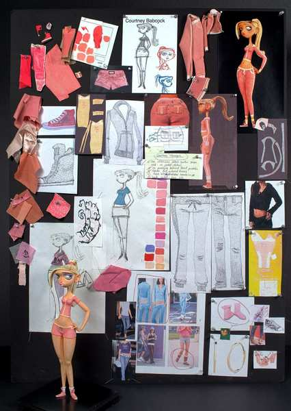 "The inspiration board of ""ParaNorman's"" Deborah Cook, creative supervisor for costume design, is covered with ideas for the character Courtney."