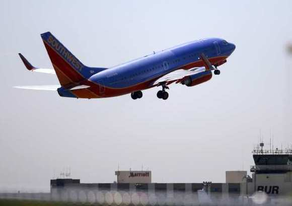 A Southwest jet takes off from Bob Hope Airport.