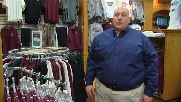 Mark Brixey, manager of the Missouri State University bookstore, talks about sales of Bears merchandise in March 2011.