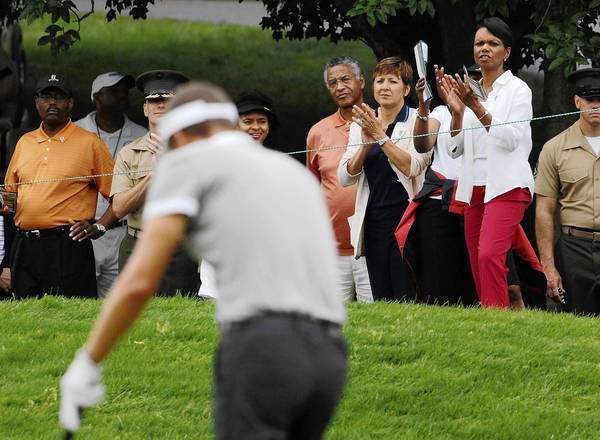 The addition of ex-Secretary of State Condoleezza Rice, right, shown in Maryland, and financier Darla Moore to the membership of Georgia's Augusta National came months after bad publicity over public mistreatment of a Masters sponsor.