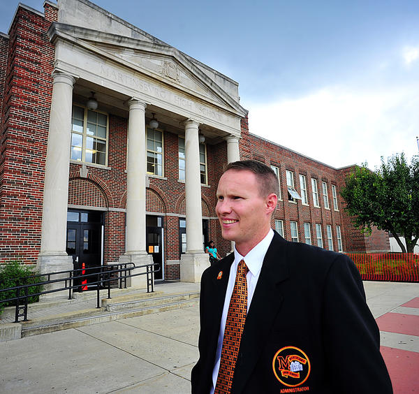 First-year Martinsburg High School principal Trent Sherman reflects Monday on the first day of school.