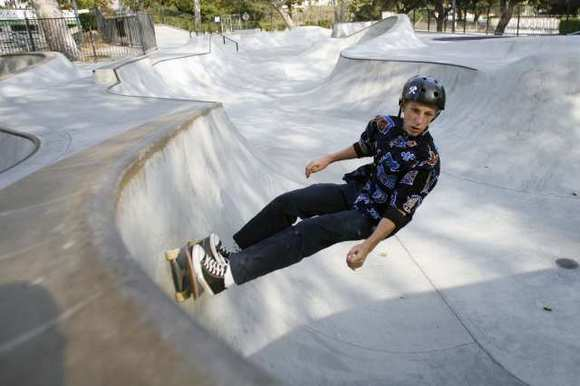 Kris Hall, 15, skates at Verdugo Skate Park in Glendale on Friday, August 17, 2012.