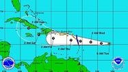 Potential track for Tropical Depression 9