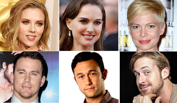Scarlett Johannson (Allen J. Schaben / Los Angeles Times), Natalie Portman (Mark Boster / Los Angeles Times) and Michelle Williams (Mark Boster / Los Angeles Times).  And for the male leads, there's Channing Tatum (Gareth Cattermole / Getty Images), Joseph Gordon Levitt (Ricardo DeAratanha / Los Angeles Times)  and Ryan Gosling (Carolyn Cole / Los Angeles Times).