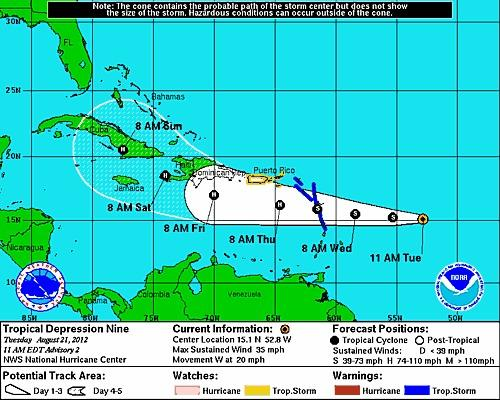 Tropical Depression 9 is projected to intensify into a hurricane.