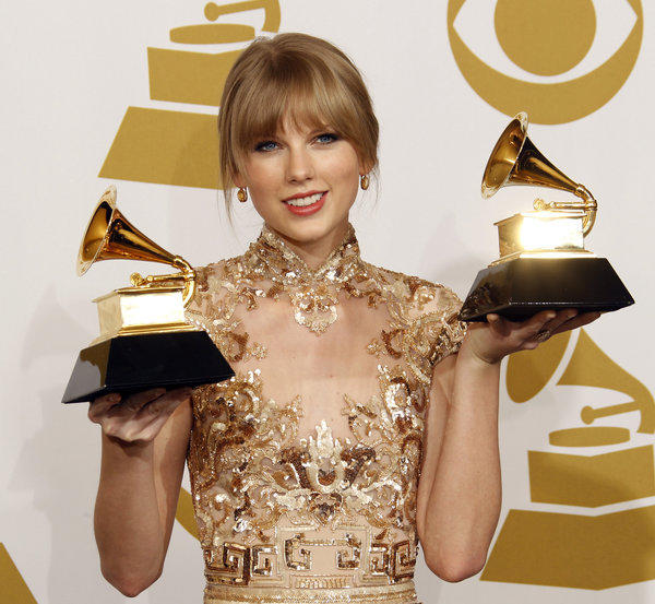 Taylor Swift at the 2012 Grammy Awards, where she won for best country solo performance and best country song.