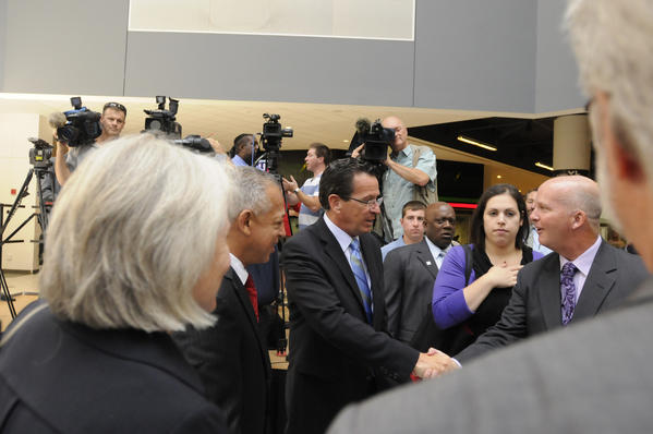Gov. Malloy meets XL center's Chuck Steedman as USA Gymnastics announced today that the 2013 U.S. Gymnastics Championships will return to Hartford and the XL Center Aug. 14-17. Steve Penny, president of USA Gymnastics, Gov. Dannel P. Malloy, Mayor Pedro Segarra and Chuck Steedman, XL Center general manager were at the press conference.