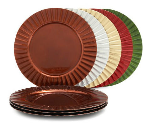These ribbed metallic chargers from Sur La Table, at $20 each, come in warm colors and add tecture and visual interest to the table.