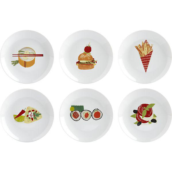 Interior designer Debbie McHale says these appetizer plates give the hostess the element of surprise. Use them with stoneware in fall colors. The set of six Global Bites plates are available at Crate & Barrel for $24.95