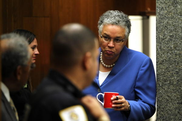 Cook County Board President Toni Preckwinkle arrives at the board meeting Tuesday July 24, 2012.