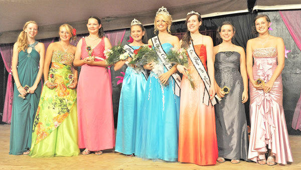 The eight contestants in the Otsego County Fair Queens Pageant (l-r): Lindsey Beckley, Nadine Peterson, Kelly Furget, First Runner-up Anastasia Bragg, 2012 Queen Kayenne Baur, Second Runner-up Julie Tippery, Alexis Ames, Anna Keller.
