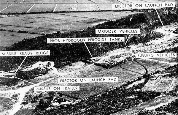 Aerial photo released by the Defense Department in Washington, Oct. 24, 1962 shows what was described as a medium range ballistic missile base in Cuba. Cuban officials revealed during a news conference on the 1962 missile crisis that 270,000 Soviet and Cuban troops were ready to go to war with the U.S.and that 100,000 casualties were expected