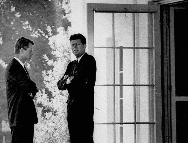 "President John F. Kennedy, right, confers with his brother, Attorney General Robert F. Kennedy, at the White House in this Oct.1, 1962, file photo during the Cuban missile crisis. At the most dangerous moment, 1962's Cuban missile crisis, ""we avoided nuclear war solely, solely because we were lucky,"" said former Defesnse Secretary Robert McNamera."