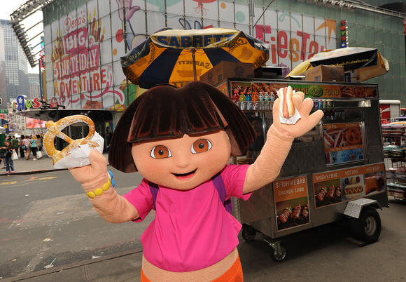 Dora the Explorer Costumed Character celebrates her 10th anniversary on the streets of New York on August 10, 2010 in New York City.