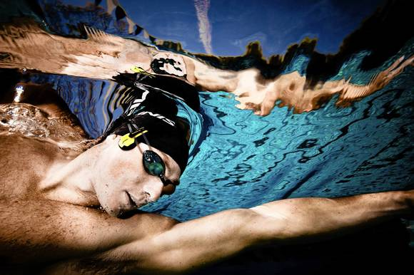 Finis SwiMP3 player, worn by swimmer Jason Lezak