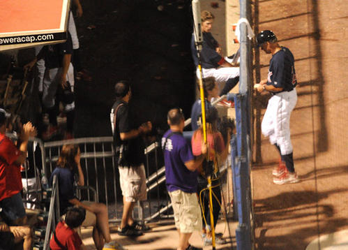 In game two of Lehigh Valley IronPigs hosting Toledo Mud Hens, IronPigs manager Ryne Sandberg leaves the game after an umpire tossed Sandberg out of the game for arguing a call he made in the 4th inning.