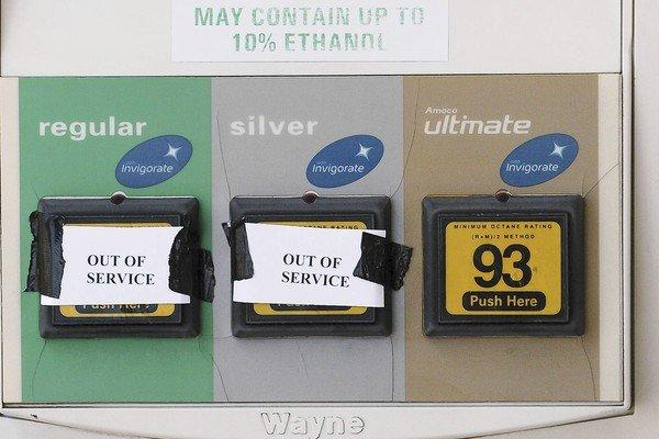 A gas pump at a station in Munster, Ind., reflects a recall issued by BP, which reported problems with a 50,000-barrel batch of fuel from a refinery in Whiting, Ind.