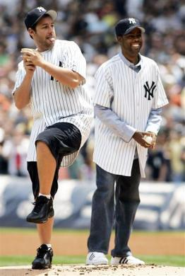 Adam Sandler and Chris Rock throw out ceremonial first pitches before the New York Yankees played the Boston Red Sox at Yankee Stadium, May 27, 2005.