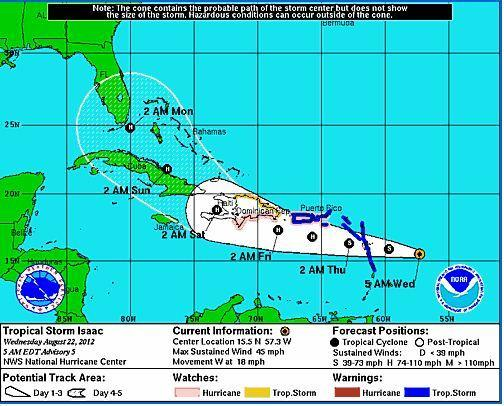 Tropical Storm Isaac track as of 5 a.m. Wednesday, Aug. 22.