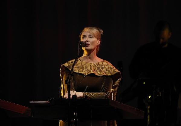 Lisa Gerrard of Dead Can Dance performs at the Pritzker Pavilion in Millennium Park on Tuesday.