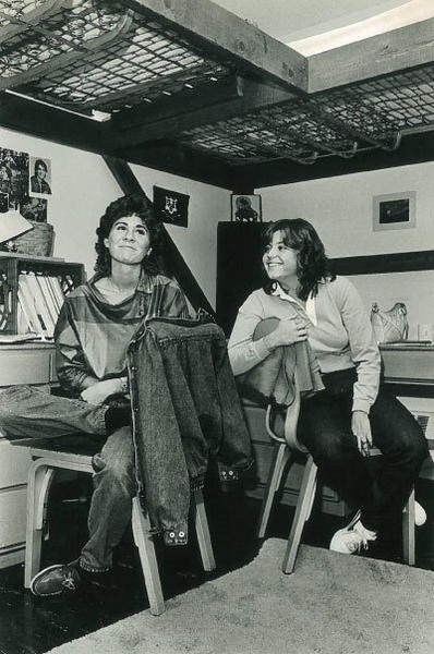 Debbie Sprague, left and Joanne Francia share a room at UConn. Sprague's sister, a UConn grad, supplied the bunk beds.
