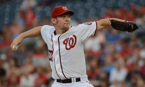 Washington Nationals starting pitcher Stephen Strasburg (37) pitches against the Atlanta Braves.